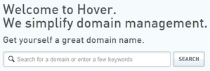 Hover's domain search box doesn't show any top level domain options.
