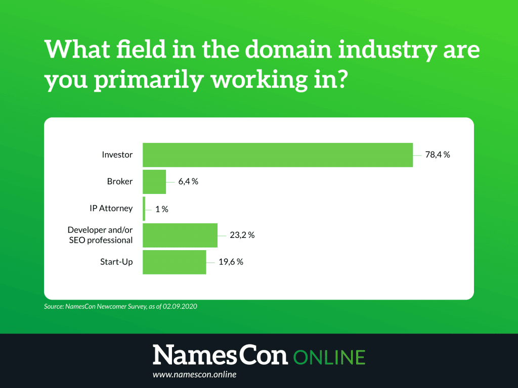 Bar graph showing what field of domain industry first time attendees to NamesCon fit in