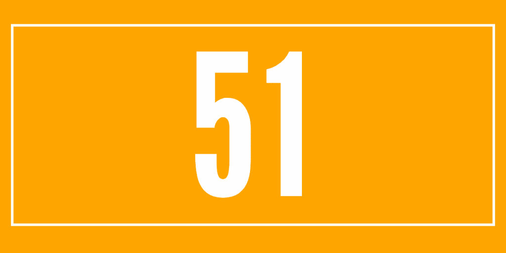 The number 51 on an orange background