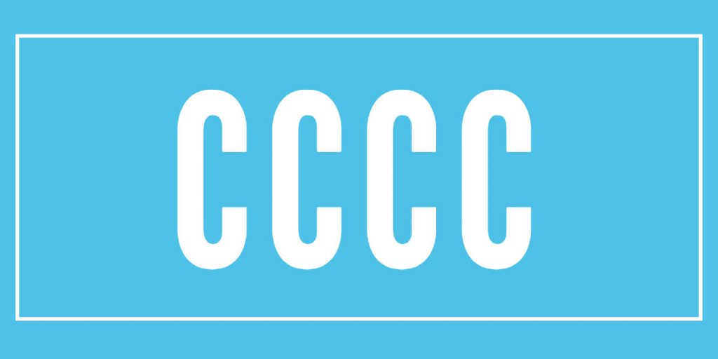 The letters CCCC on blue background
