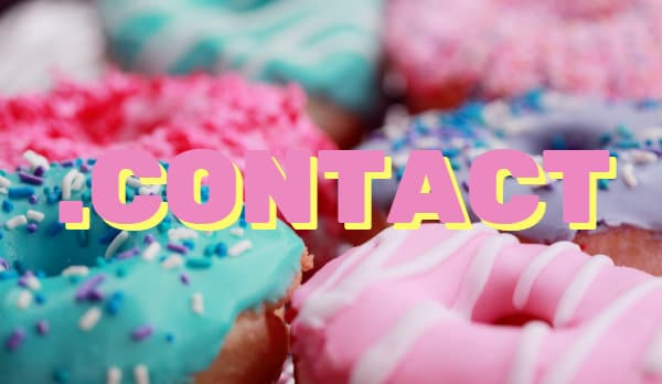 "Picture of Donuts with the word "".contact"" overlaying the photo"