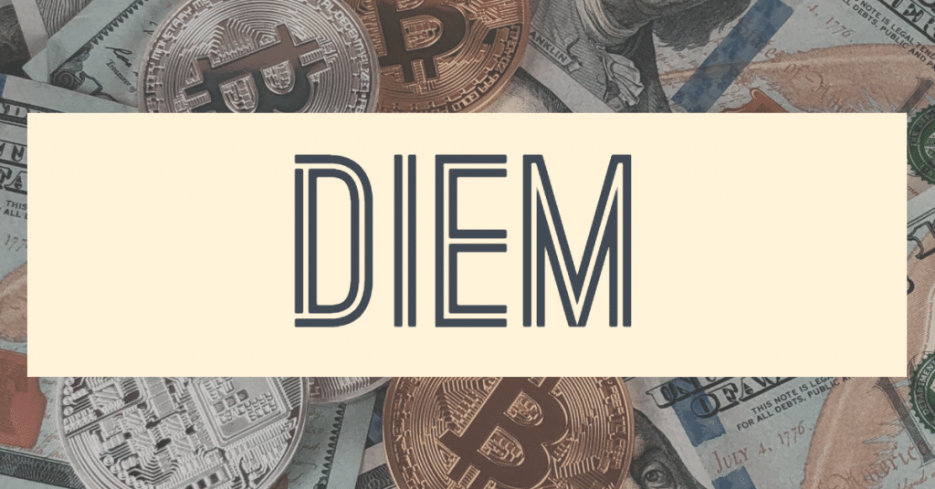 "Picture symbolizing cryptocurrency with the word ""diem"" on it"