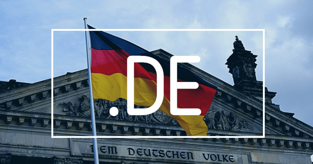 """Picture of German flag in front of building and """".DE"""", Germany's country code, on top of it"""