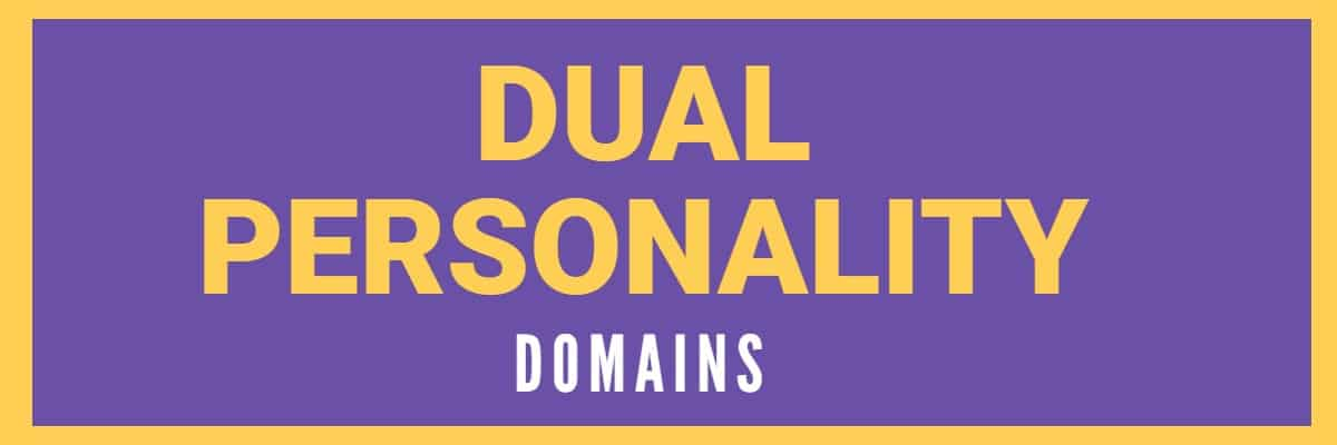 """Purple background with the words """"Dual Personality Domains"""""""