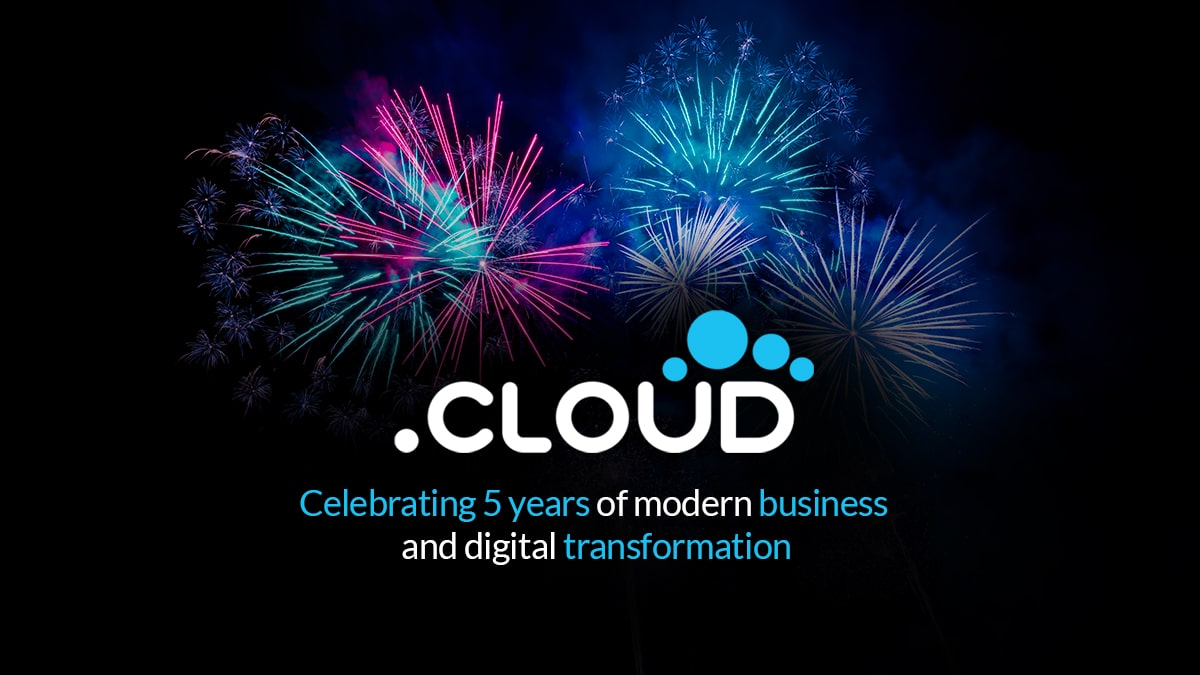 Image of fireworks and .Cloud logo