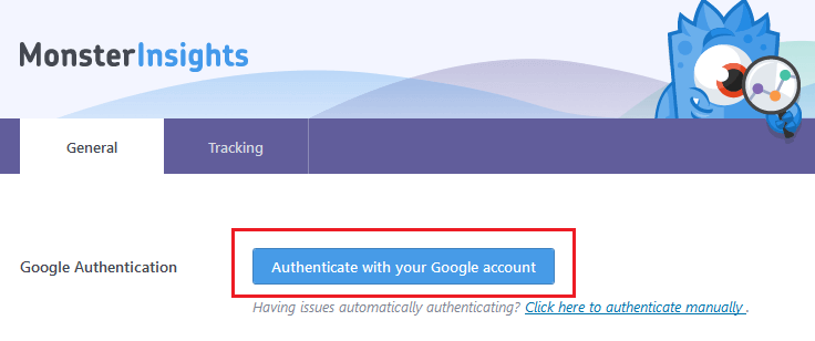 Google Analytics - MonsterInsights - Authenticate Google Account