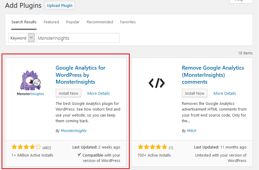 Google Analytics - MonsterInsights - Install And Activate