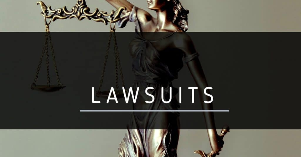 "An image of justice with scales and the words ""lawsuits"""