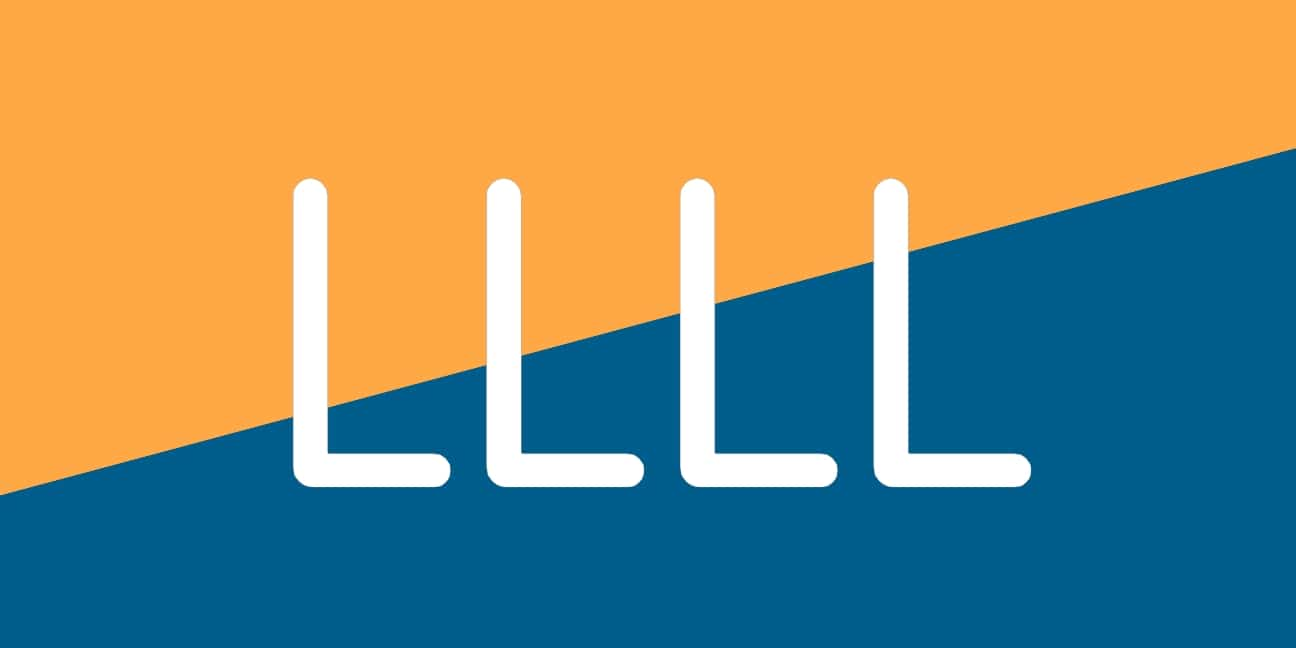 Four L's on a blue and orange background