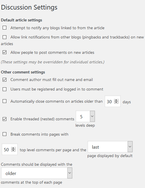 Moderating Comments - Configure Website