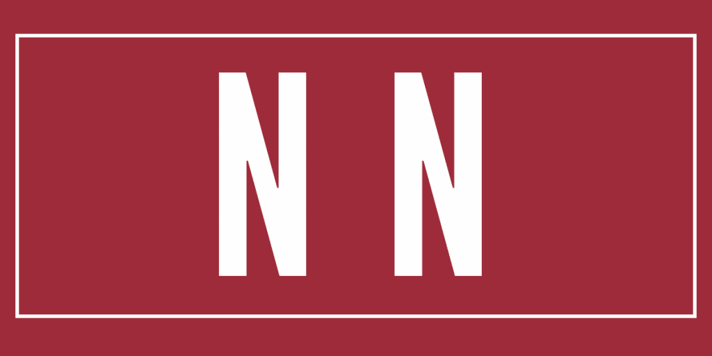 Two letter n on a dark red background