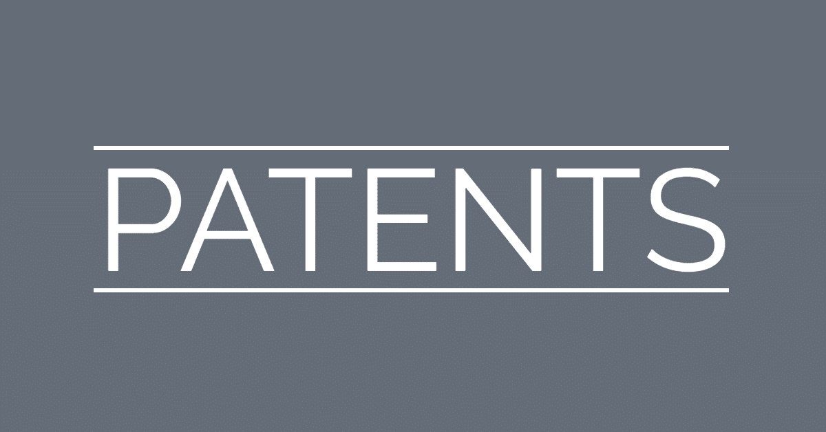 "Gray background with the word ""patents"" on it, in between two horizontal bars"