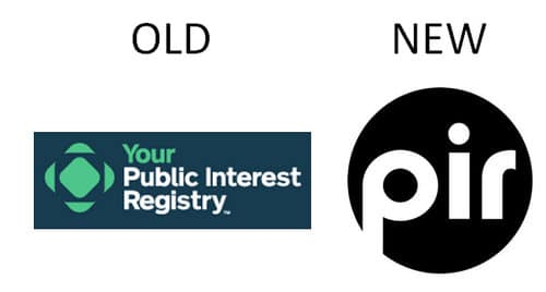 Image showing old PIR logo (left) and new logo (right)