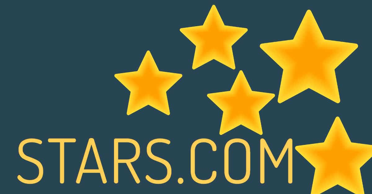 Picture of five golden stars with the words Stars.com