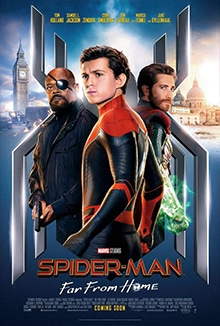 Movie poster from Spider Man Far From Home movie showing Spider-man