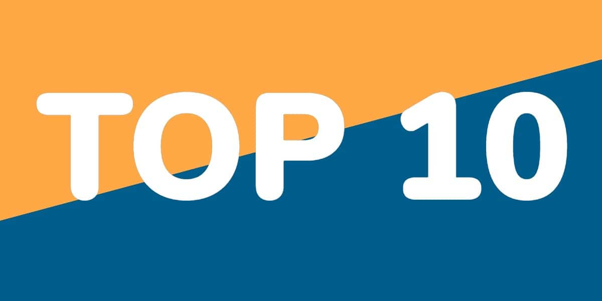Image with yellow and blue background and the word Top 10 in white text