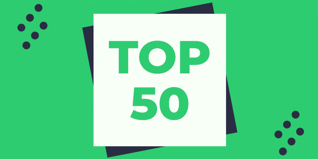 Top 50 on a green background