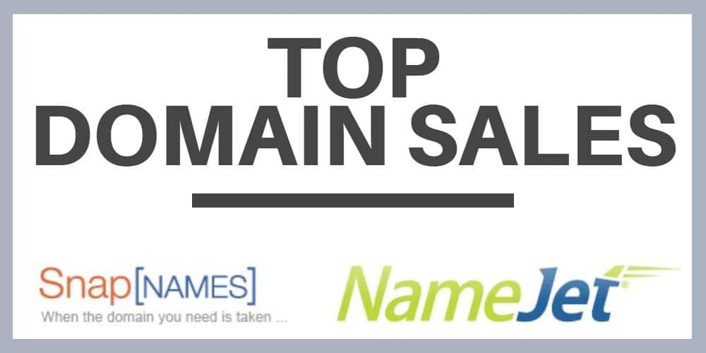 Image that says Top Domain Sales with NameJet and SnapNames logos