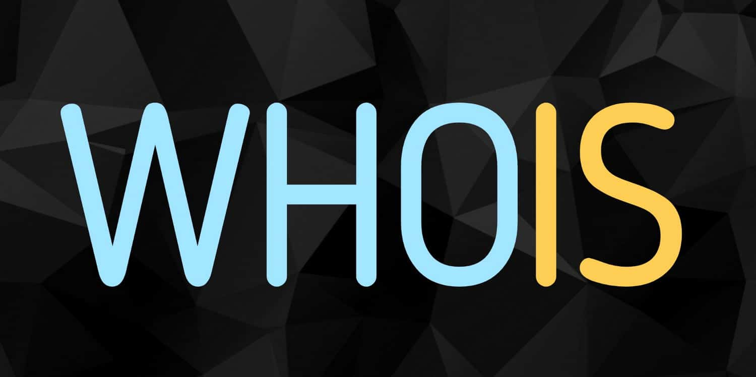 The word WHOIS in blue and yellow letters on black background