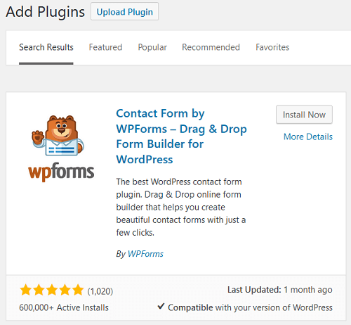 WPForms - Installation and Activation