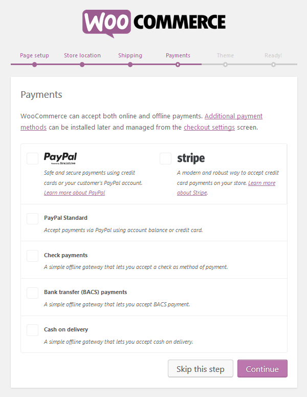 WooCommerce Plugin - Setup Wizard - Payments