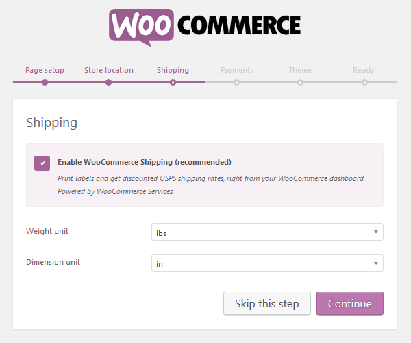 WooCommerce Plugin - Setup Wizard - Shipping