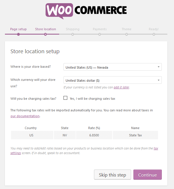 WooCommerce Plugin - Setup Wizard - Store Location
