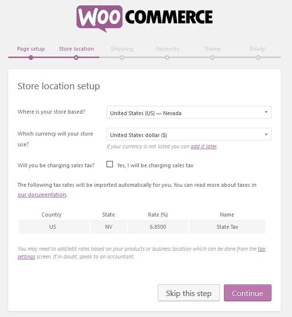 WooCommerce Plugin - Setup Wizard - Store Location