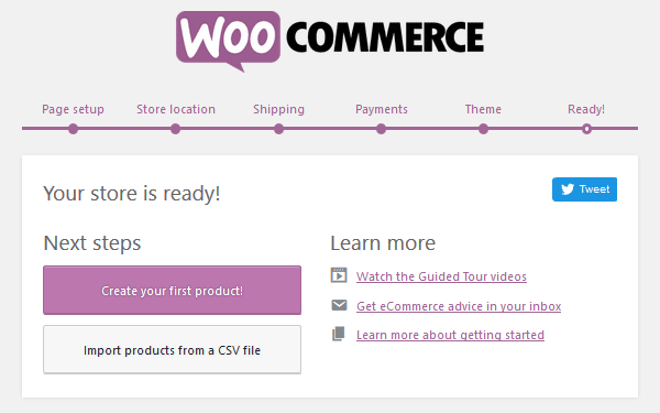 WooCommerce Plugin - Setup Wizard - Theme - Ready