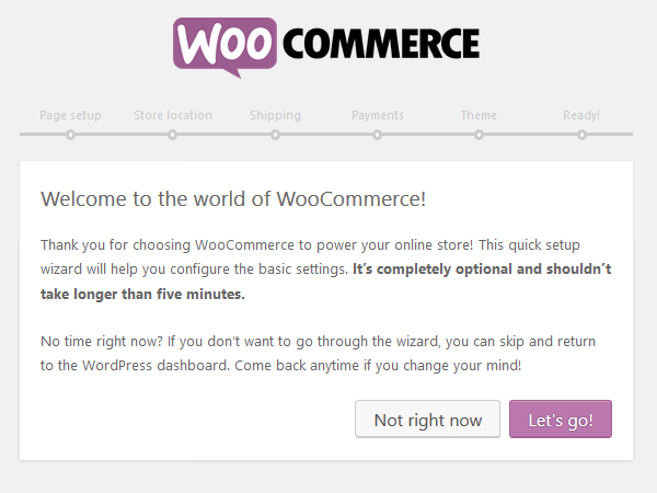 WooCommerce Plugin - Setup Wizard