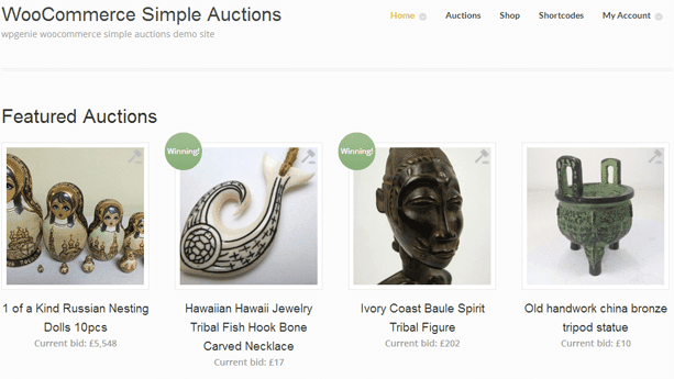 WooCommerce Extensions - WooCommerce Simple Auctions