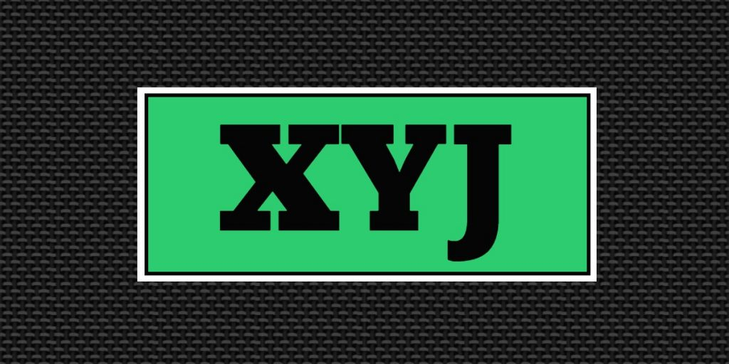 The letters x, y, and j on a green background. The green background is on a black background.