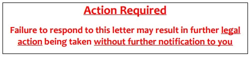 Image of warning message on cease & desist letter.
