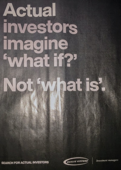 Magazine ad for Baillie Gifford Investment Managers from The Economist, with call-to-action Search for Actual Investors