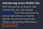 Acura mobile web site
