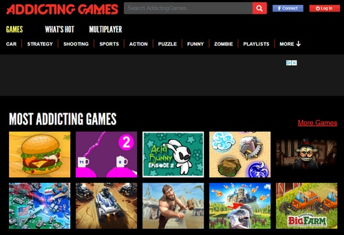 Screenshot of AddictingGames.com. The company is suing the owner of Addicting.com