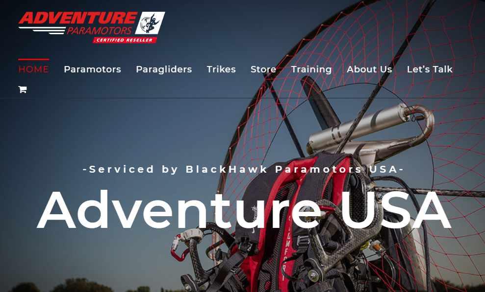 Screenshot of AdventureParamotorUSA.com website