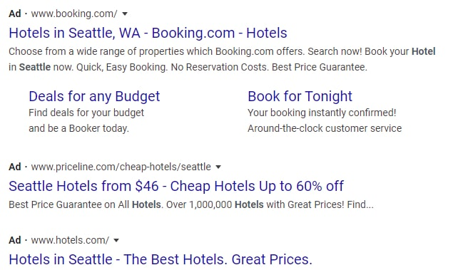 Screenshot of Google Adwords