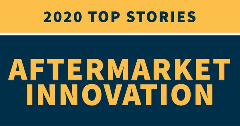 "Yellow and blue background with the words ""2020 top stories aftermarket innovation"""
