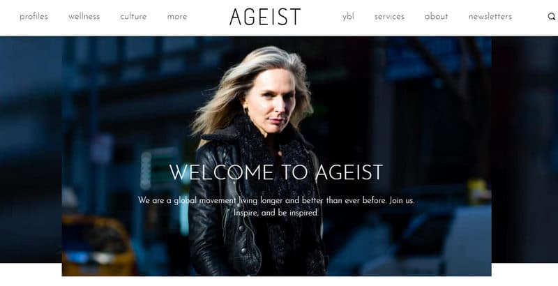 Screenshot of home page for Ageist featuring a middle-aged woman in a black coat