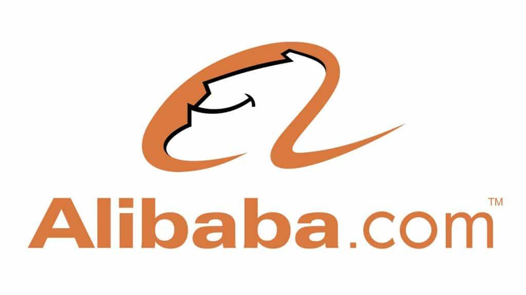 Alibaba logo shows Alibaba.com in orange text