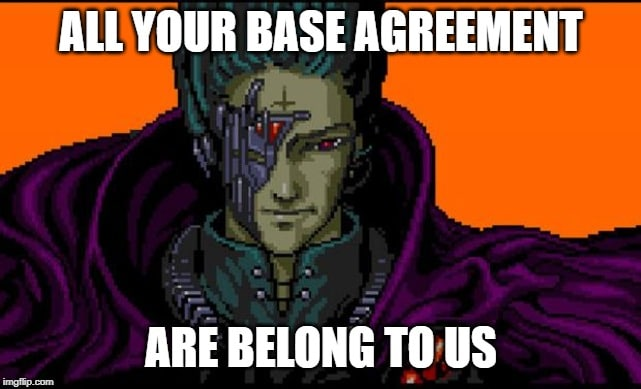 "Meme ""All your base are belong to us"" but with ""All your base agreement are belong to us"" referring to ICANN"