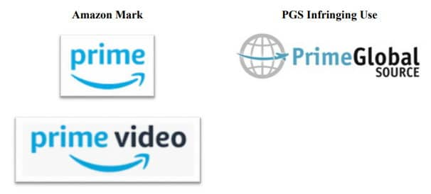 Chart fro lawsuit showing Amazon.com trademarks with swooping arrow to the right compared to defendants logo with similar swooping arrow with a plane instead of arrow pointer