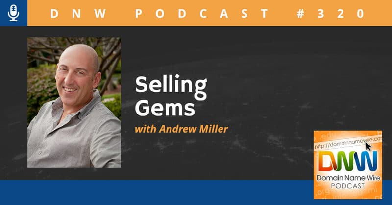 "Picture of Andrew Miller with the words ""Selling Gems"""