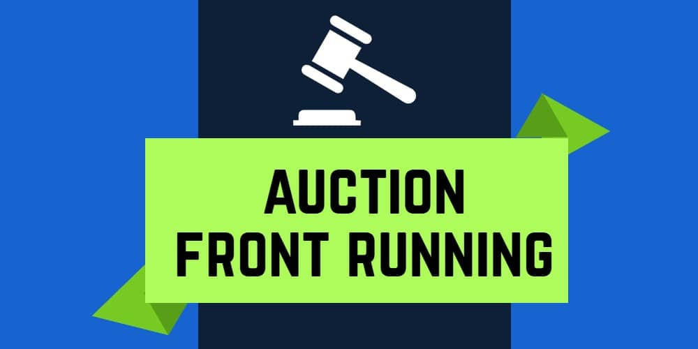 "Auction gavel with words ""Auction Front Running"""