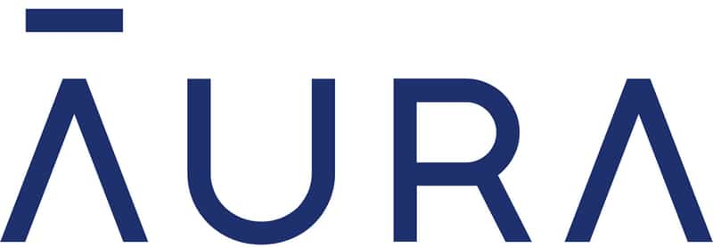 Logo for Aura has the word Aura in stylized blue letters and a line above the A