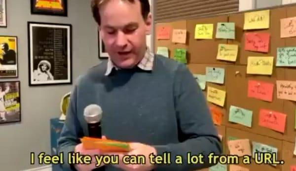 Comedian Mike Birbiglia delivers a joke online