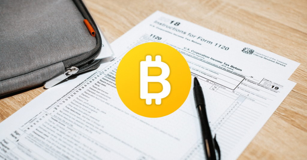 Picture of a tax return with the bitcoin symbol over it