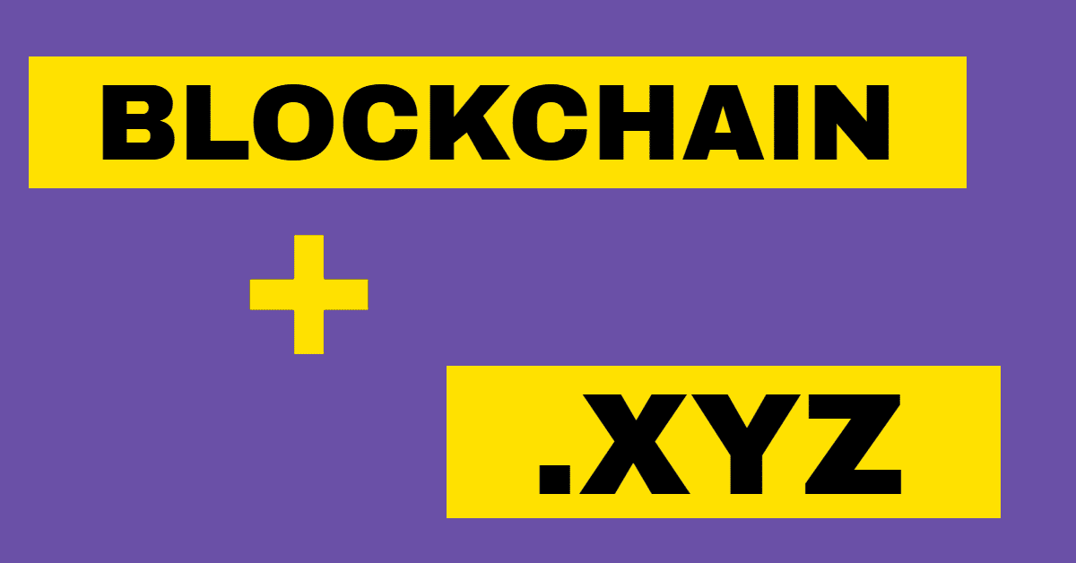 Graphic with purple background and the words blockchain and xyz in black letters on yellow backgrounds