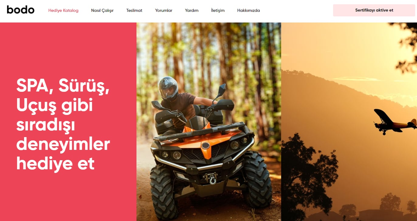 Screenshot of Bodo.com, a website offering experiences. Picture shows person on an ATV and flying a plane.